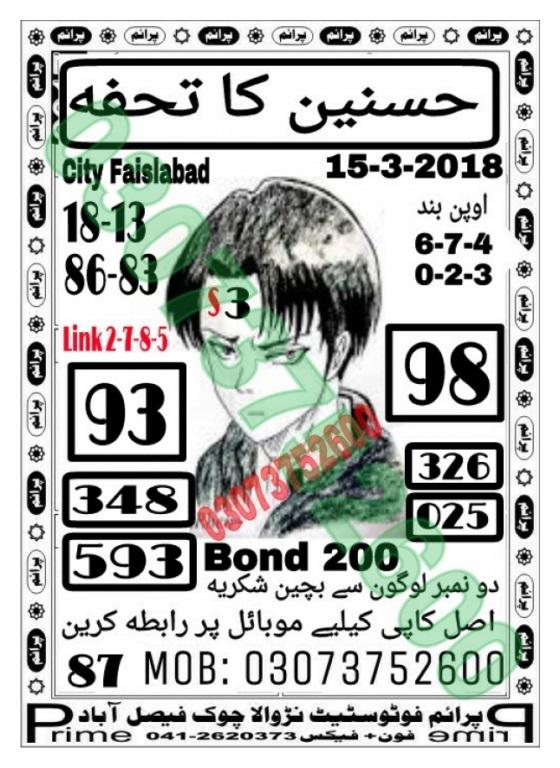 200 Prize Bond Guess Paper