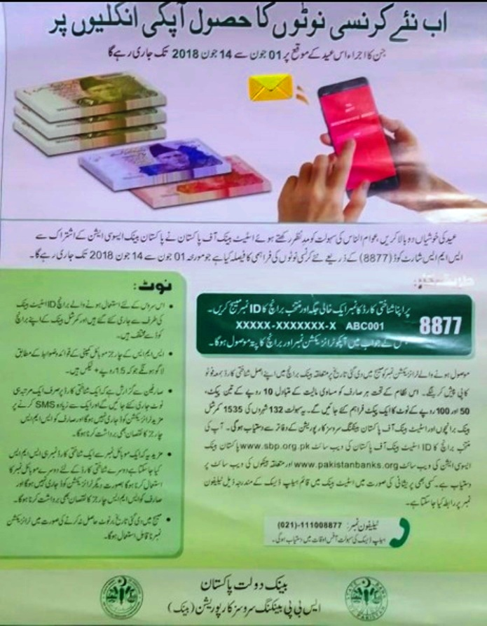 Get State Bank to issue fresh currency notes via SMS service free on 18000 Pkr Worth