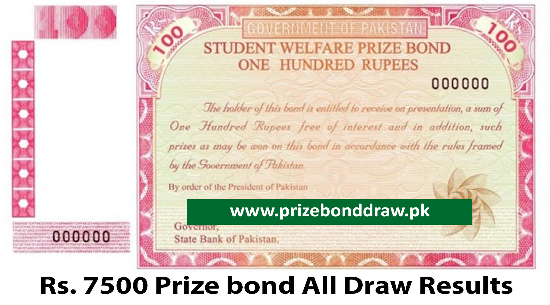 Rs. 100 Prize bond Draw All Results