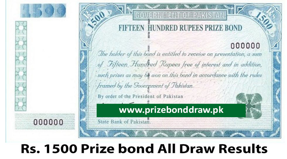 Rs. 1500 Prize bond Draw All Results