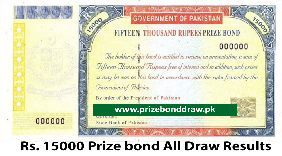 Rs. 15000 Prize bond Draw All Results