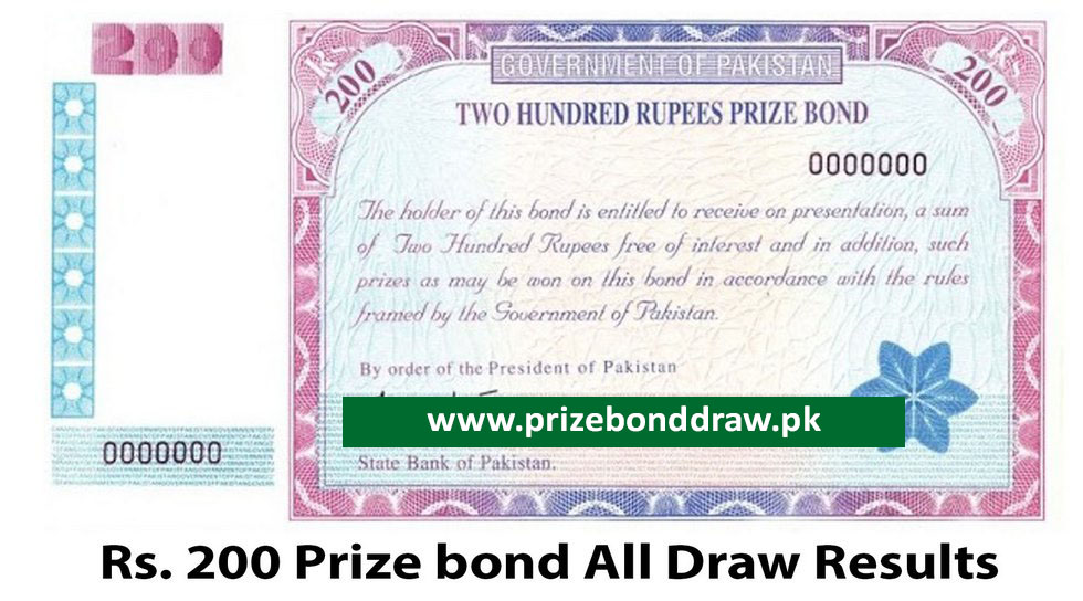 Rs. 200 Prize bond Draw All Results