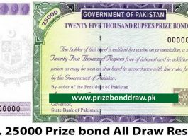 Rs. 25000 Prize bond Draw All Results