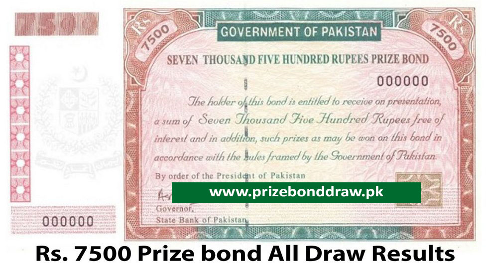 Rs. 7500 Prize bond Draw All Results