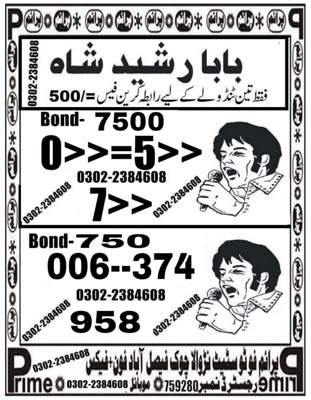 Baba Rasheed Shah 7500 Prize bond Guess Papers August 2018