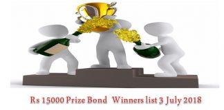 Prize Bond List 15000 - Draw # 75 Result 3rd July 2018 Thrid Full list
