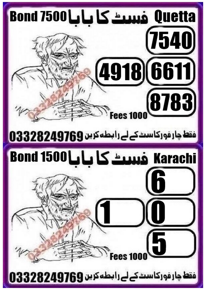 Qismat Ka baba 1500 Prize bond Guess Papers August, 2018 Karachi
