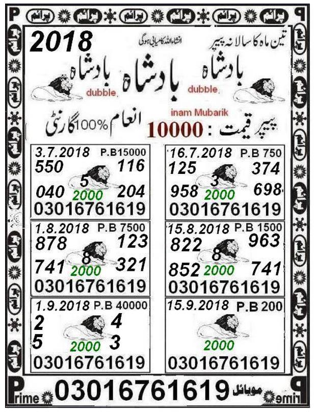 Teen Mah ka 40000 prize bond guess papers