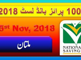 Rs 100 Prize bond Draw No.24 Multan Results Lists 15th November 2018