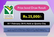 Rs 25000 Prize bond Draw No.28 Quetta Results Lists 01st February 2019