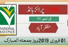 Rs 7500 Prize bond Draw No.77 Muzaffarabad Results Lists 01st February 2019