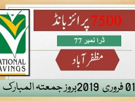 Rs 7500 Prize bond Draw No.77 Muzaffarabad Results Lists 01st February 2019