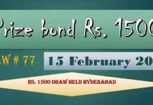 Rs 1500 Prize bond Draw No.77 Hyderabad Results Lists 15st February 2019