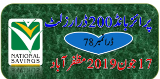 Rs 200 Prize bond Draw No.78 Muzaffarabad Results Lists 17 June 2019