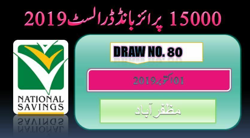 Rs.15000 Prize bond 01 October 2019 Draw #80 Results Lists Muzaffarabad