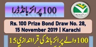 Prize bond Rs 100 draw held on November 15, 2019 in Karachi