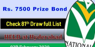 Rs 7500 Prize bond 03 February 2020 Draw No.81 Hyderabad