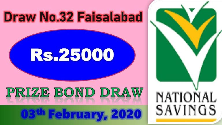 Rs 25000 Prize bond List 03 February 2020 Draw No.32 Faisalabad