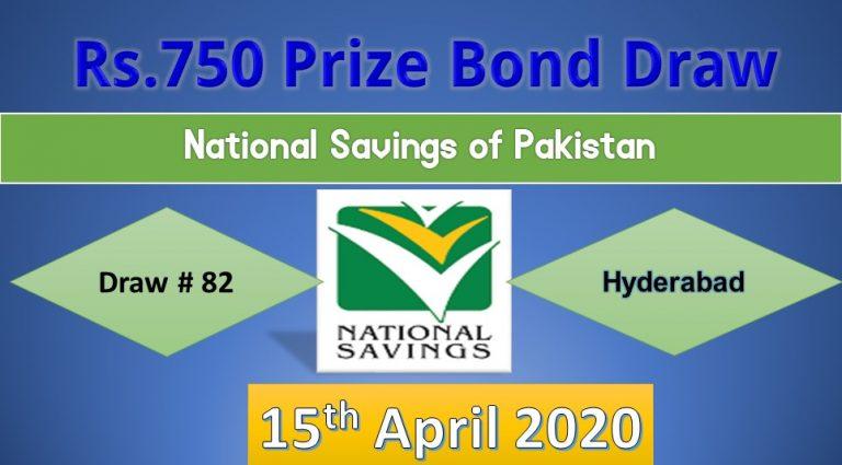 Rs 750 Prize bond Result 15 April 2020 Draw No.82 List Hyderabad