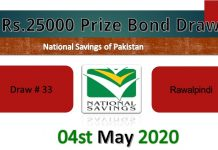 Draw 33 Rs 25000 Prize Bond List RWP Result 04 May 2020