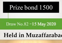 Draw No.82 Rs 1500 Prize bond list Results 15 May 2020 Muzaffarabad