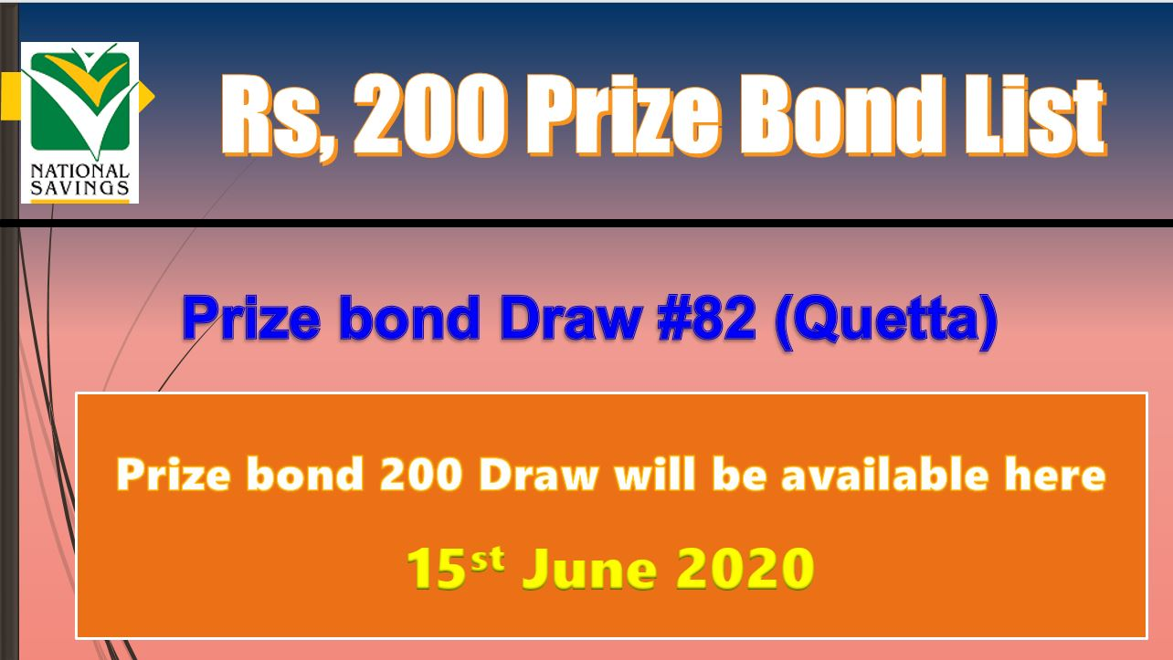 Draw 82 Rs. 200 Prize Bond List Quetta 15 June 2020 free download