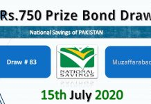 750 Prize Bond List Muzaffarabad Draw 83 15 July 2020