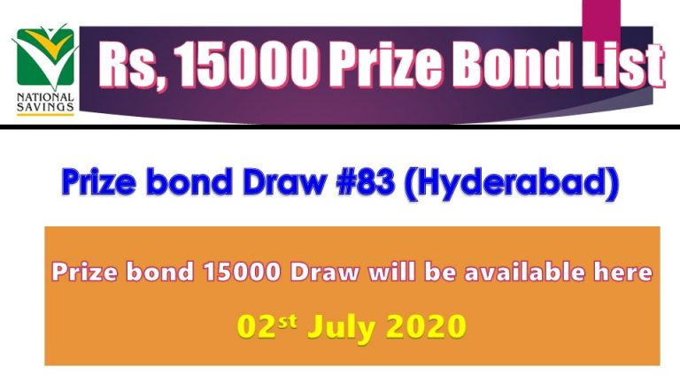 Rs. 15000 Prize bond List 02 July 2020 Draw No.83 Hyderabad Results online