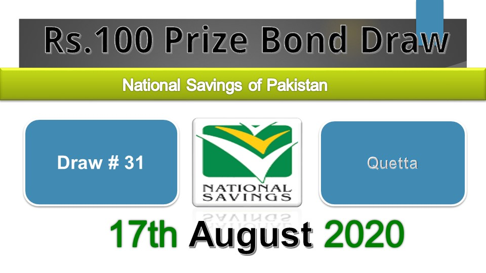 Rs. 100 Prize bond List 17 August 2020 Draw No.31