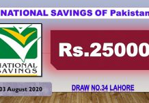 Rs. 25000 Prize bond List 03 August 2020 Draw