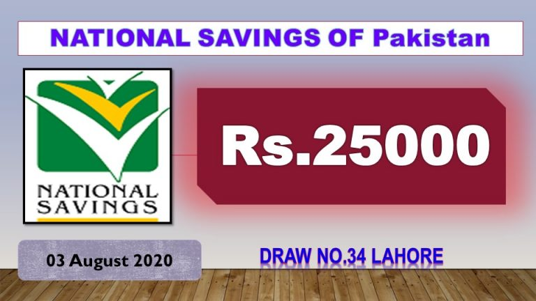 Rs. 25000 Prize bond List 03 August 2020 Draw No.34 Lahore Results online