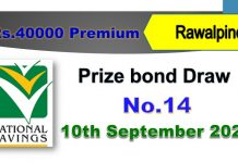Rs. 40000 Premium Prize Bond List 10 September 2020, Prizebond Result 2020 Draw No 14 at Rawalpindi