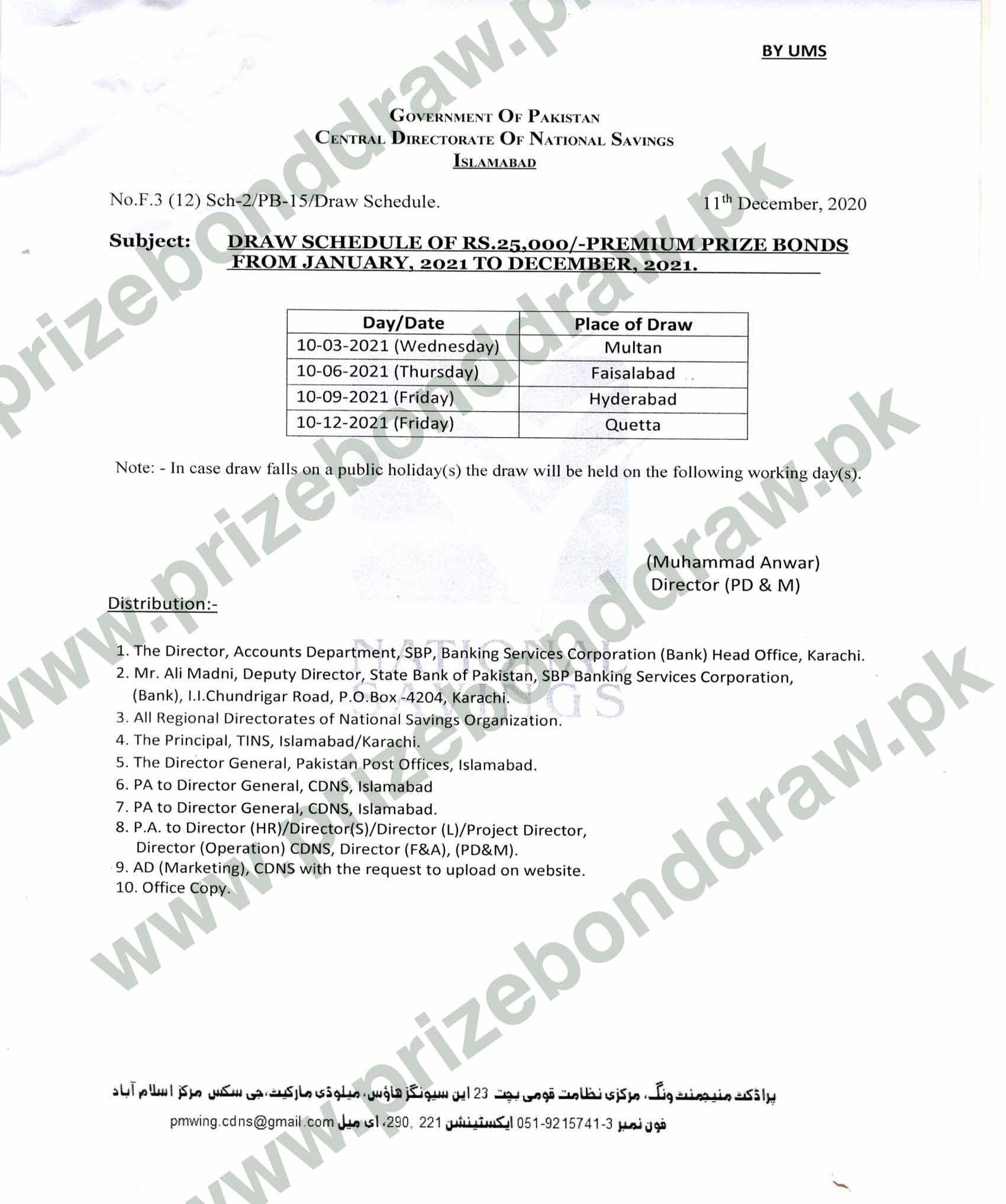 Rs. 25000 Premium Prize bond Schedule 2021