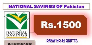 Rs. 1500 Prize Bond List 16 November 2020, Prizebond Result 2020 Draw No 84 at Quetta
