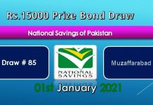 Prize bond 15000 Draw #85 Full List Result 15, January 2021
