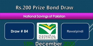 Draw 84, Rs. 200 Prize Bond List, Rawalpindi On 15-12-2020