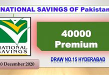 Rs. 40000 Premium Prize bond List 10 December 2020 Draw No.15 Hyderabad Results online