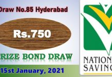Rs. 750 Prize Bond List 15 January 2021, Prizebond Result 2021 Draw No 85 at Hyderabad